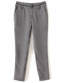 Houndstooth Tapered Trousers - White And Black L