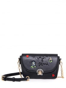 Embroidery Letter Pattern Flowers Crossbody Bag