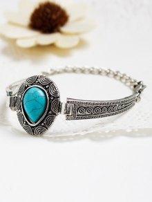 Faux Turquoise Water Drop Alloy Bracelet - Silver
