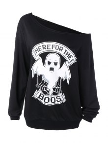 Buy One Shoulder Sweatshirt XL BLACK