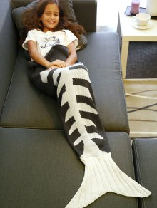 Fish Bone Knitted Mermaid Tail Blanket