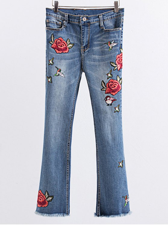 Rose Embroidered Frayed Boot Cut Jean LIGHT BLUE: Jeans L | ZAFUL