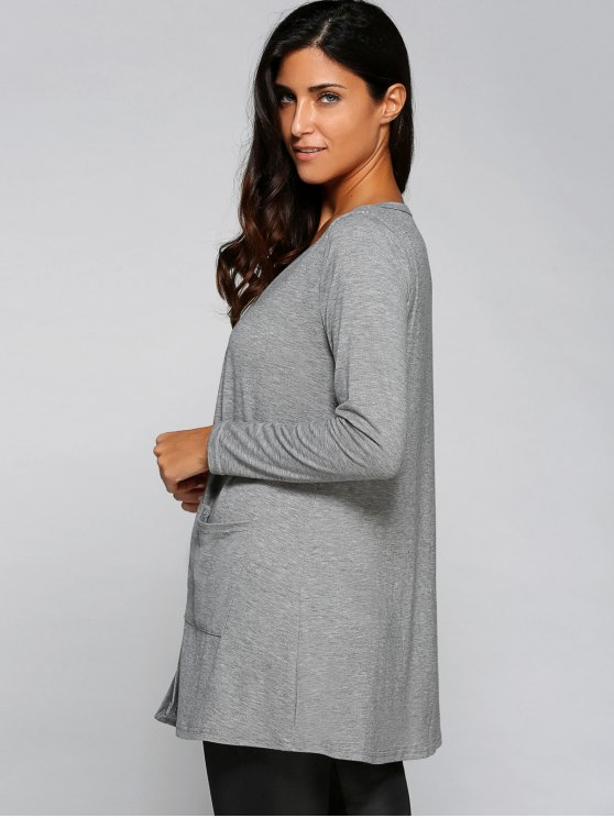 Buttoned Loose Collarless Long Sleeve Cardigan - GRAY XL Mobile