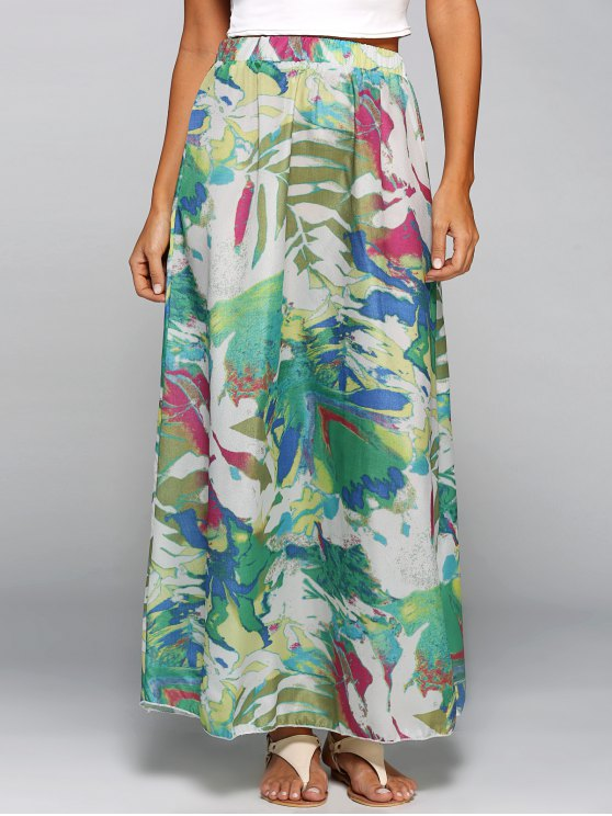 women's Printed Chiffon Maxi Skirt - COLORMIX S