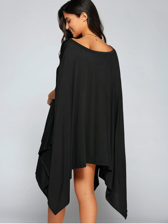 Loose Asymmetric One-Shoulder Bat-Wing Sleeve Dress - BLACK M Mobile