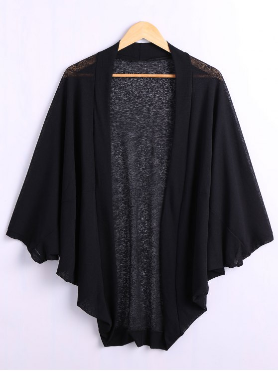 Batwing Sleeve Plus Size Cardigan - BLACK 4XL Mobile