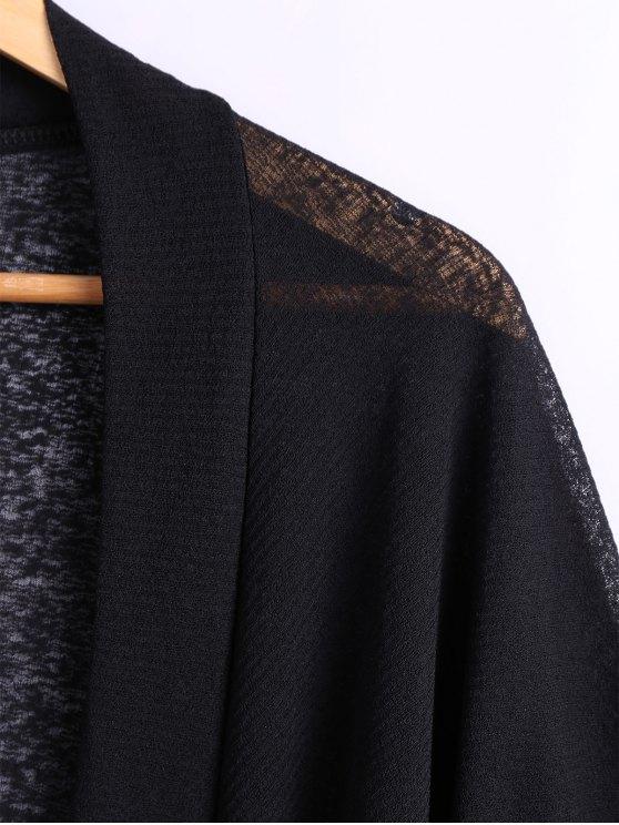 Batwing Sleeve Plus Size Cardigan - BLACK 4XL Mobile