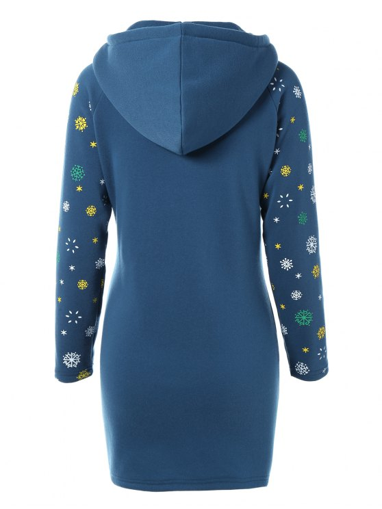 Snowflake Print Hoodie Dress - BLUE XL Mobile
