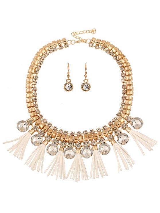 Cuero de imitación conjunto de joyería de la borla del Rhinestone - Amarillo