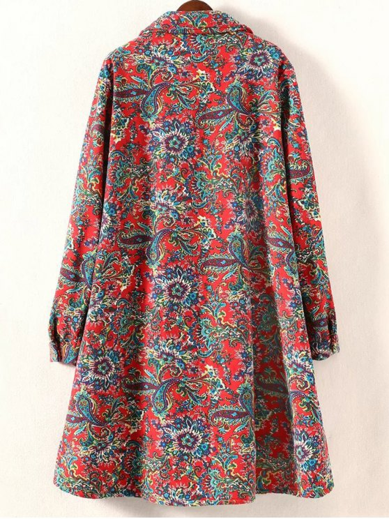 Retro Print Plus Size Fleece Coat - RED 3XL Mobile