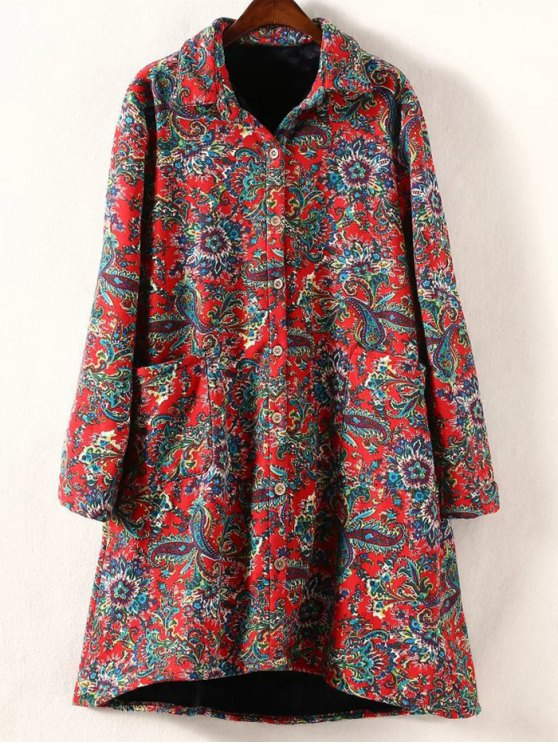 Retro Print Plus Size Fleece Coat - Rouge 2XL