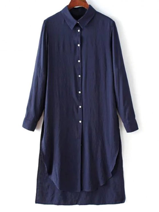 womens High Low Single-Breasted Tunic Shirt Dress - PURPLISH BLUE S