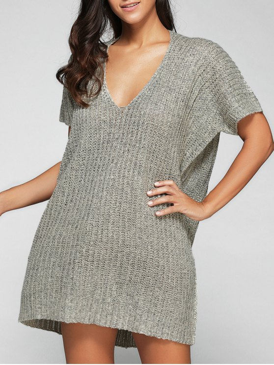trendy Loose Fitting V Neck Sweater Dress - LIGHT GRAY ONE SIZE