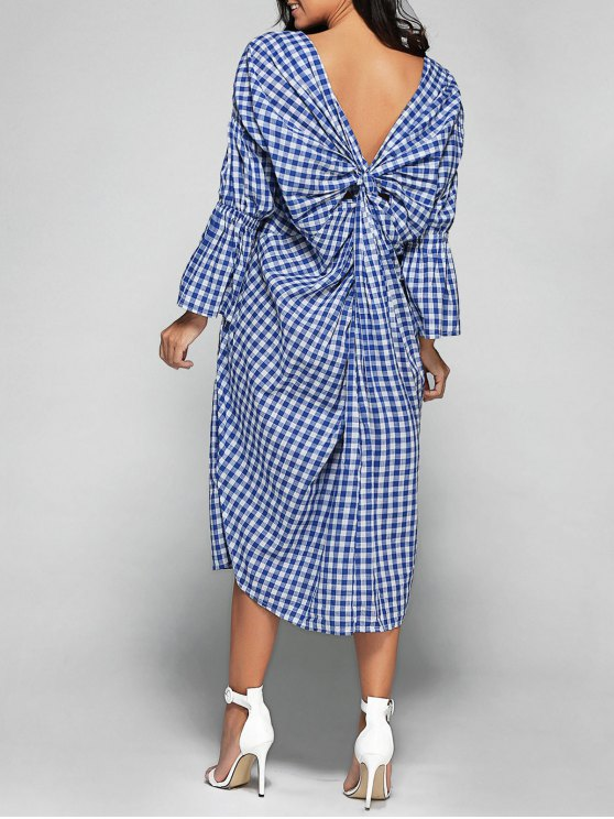 V Neck Back Low Cut Checked Dress - PLAID ONE SIZE Mobile