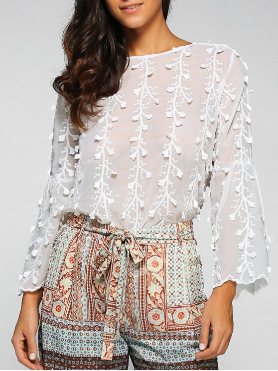 fashion Flare Sleeve Floral Applique Blouse - WHITE ONE SIZE