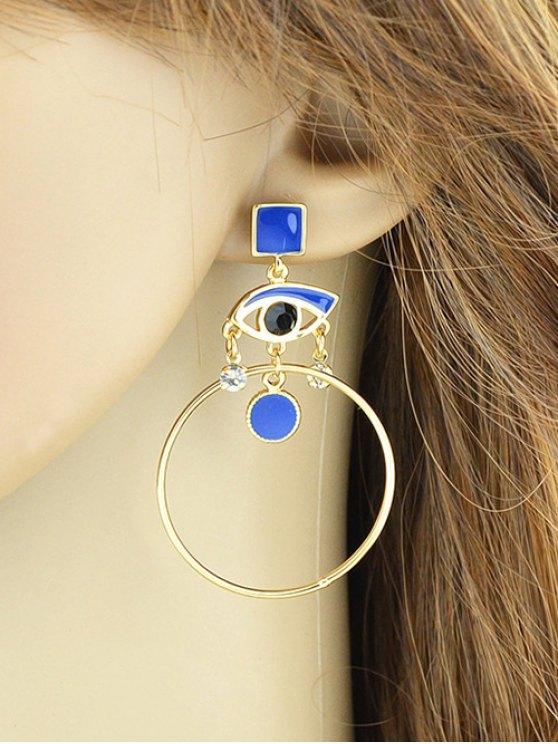 Rhinestone Circle Eye Geometric Drop Earrings - BLUE  Mobile