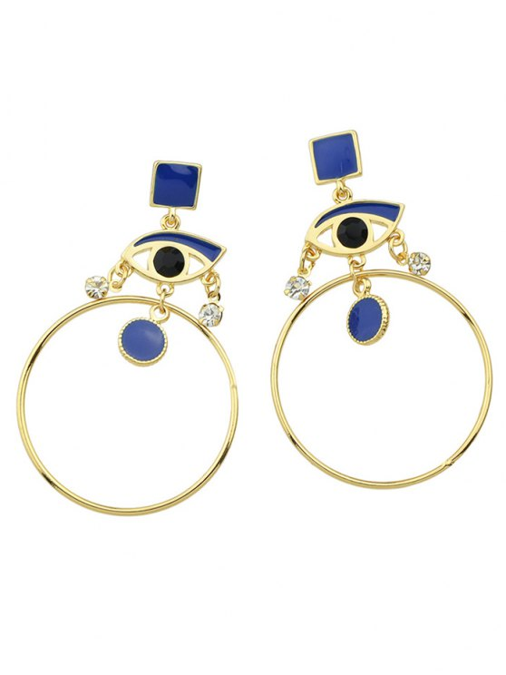 fashion Rhinestone Circle Eye Geometric Drop Earrings - BLUE