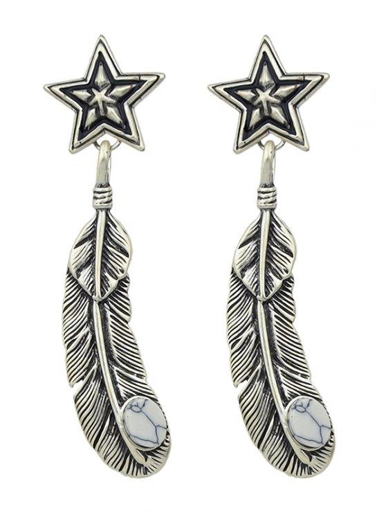 Boucles d'oreilles plumes Faux Rammel Pentagram Feuille - Argent