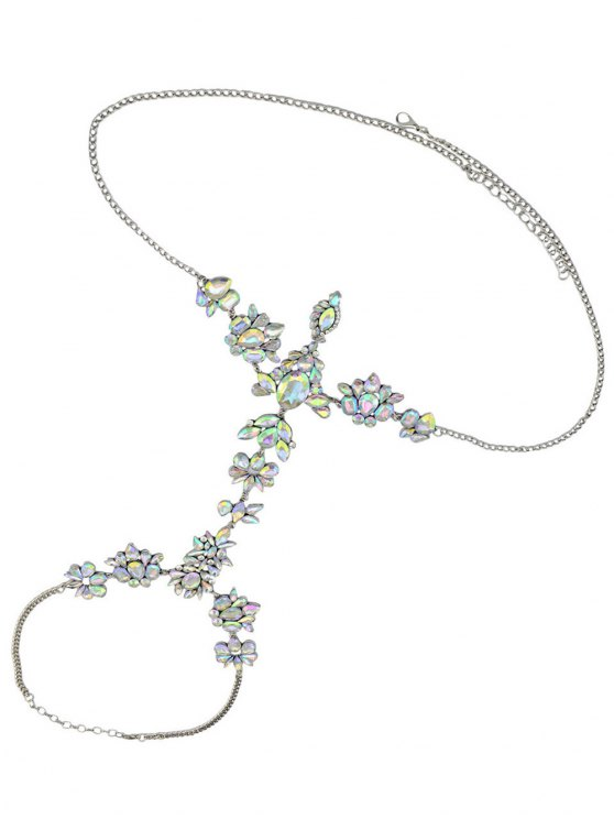 Faux Crystal Floral Leaf Body Chain - WHITE  Mobile