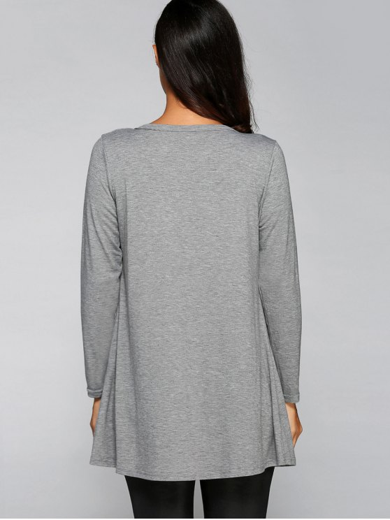 Buttoned Loose Collarless Long Sleeve Cardigan - GRAY M Mobile