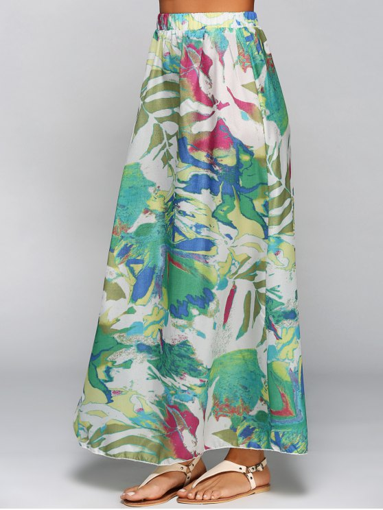 Printed Chiffon Maxi Skirt - COLORMIX L Mobile