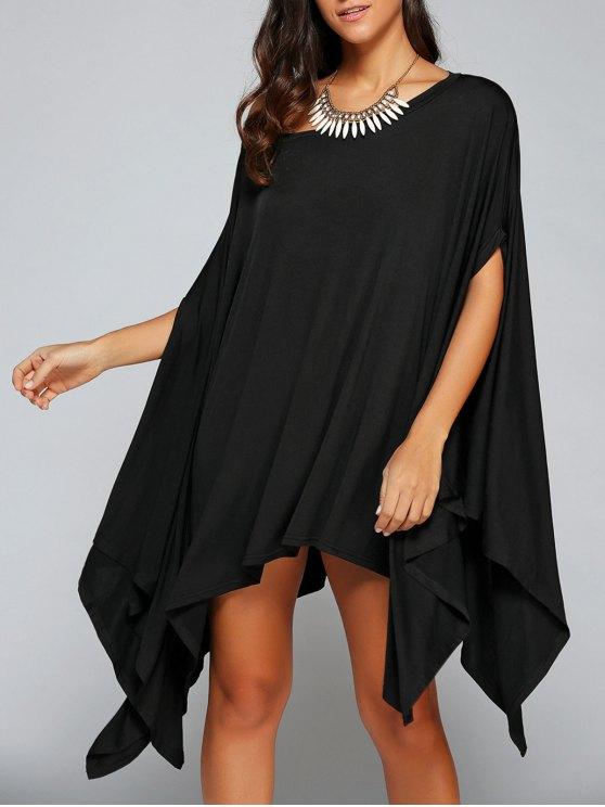 Loose Asymmetric One-Shoulder Bat-Wing Sleeve Dress - BLACK S Mobile