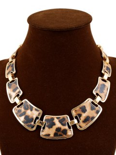 Leopard Print Alloy Necklace - Yellow