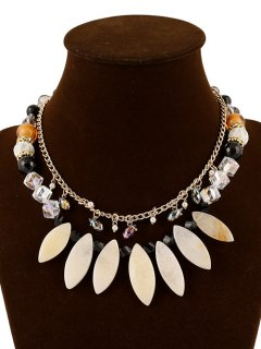 Faux Pearl Crystal Layered Beaded Necklace - White