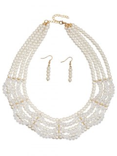 Layered Beaded Faux Pearl Jewelry Set - White