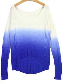 Ombre V Neck High Low Ripped Sweater - Blue And White