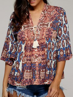 Flare Sleeve V Neck Printed Blouse - M