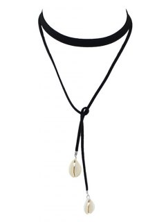 Conch Faux Leather Rope Choker Necklace - Black