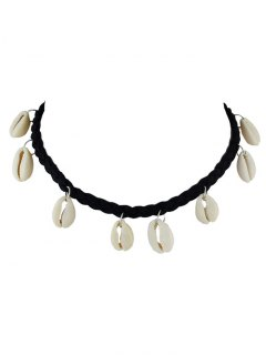 Faux Leather Rope Woven Shell Choker - Black
