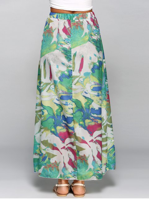womens Printed Chiffon Maxi Skirt - COLORMIX L Mobile