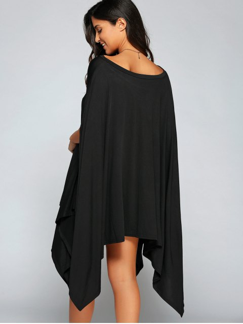 womens Loose Asymmetric One-Shoulder Bat-Wing Sleeve Dress - BLACK M Mobile