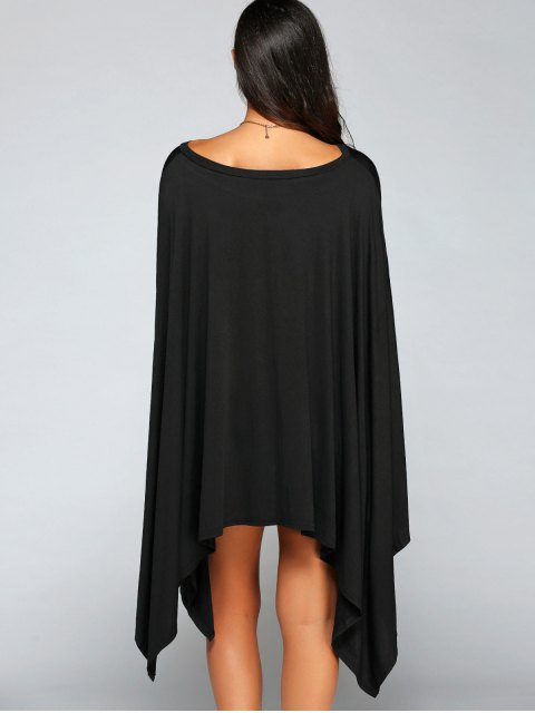 women Loose Asymmetric One-Shoulder Bat-Wing Sleeve Dress - BLACK S Mobile