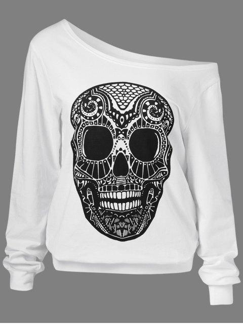 trendy Oblique Shoulder Skulls Print Sweatshirt - WHITE M Mobile