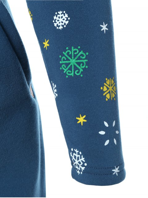 outfits Snowflake Print Hoodie Dress - BLUE S Mobile