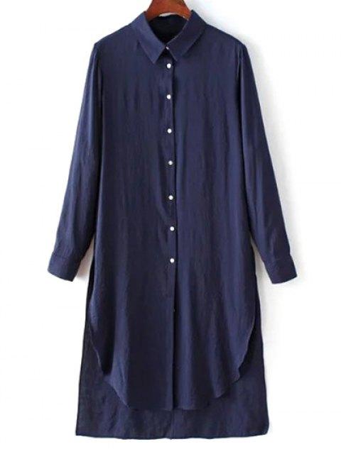 womens High Low Single-Breasted Tunic Shirt Dress - PURPLISH BLUE S Mobile