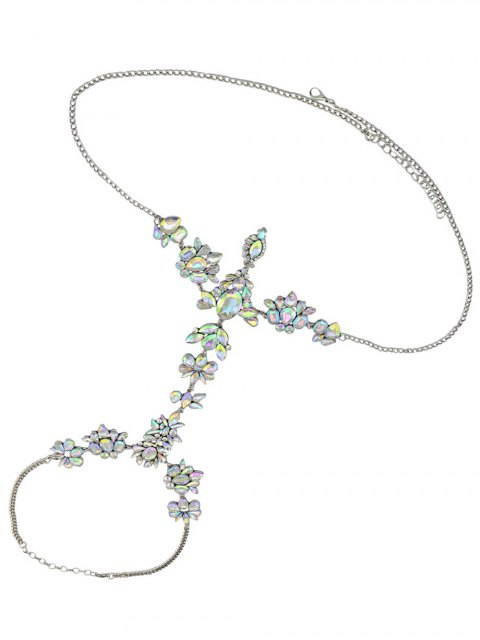 affordable Faux Crystal Floral Leaf Body Chain - WHITE  Mobile