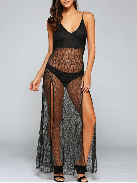 unique Sexy See-Through Backless Sheer Lace Cami Dress - BLACK L Mobile