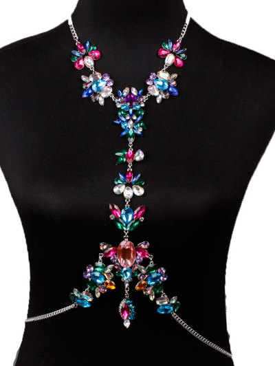 Faux Crystal Floral Leaf Body Chain - RED  Mobile
