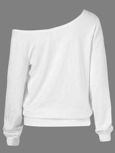 Oblique Shoulder Skulls Print Sweatshirt - WHITE M Mobile