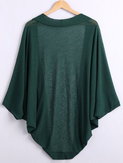 Batwing Sleeve Plus Size Cardigan - GREEN XL Mobile