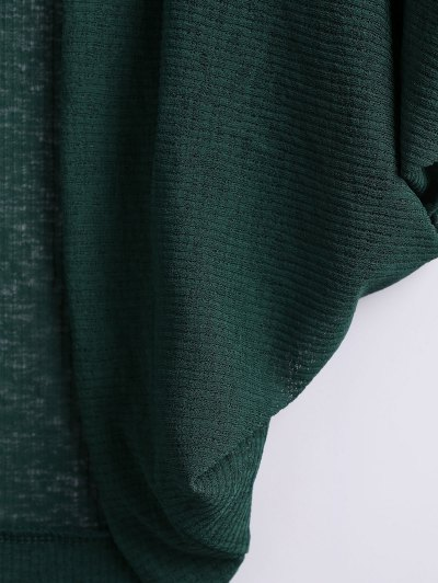 Batwing Sleeve Plus Size Cardigan - GREEN 2XL Mobile