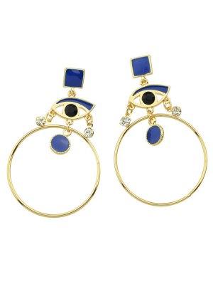 Los Pendientes De Gota Geométrico Del Rhinestone Del Círculo De Los Ojos - Azul