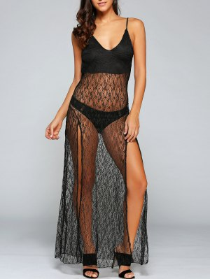 Sexy See-Through Backless Sheer Lace Cami Dress - Black