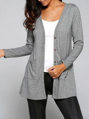 Buttoned Loose Collarless Long Sleeve Cardigan - Gray