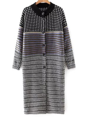 Checked Single-Breasted Cardigan