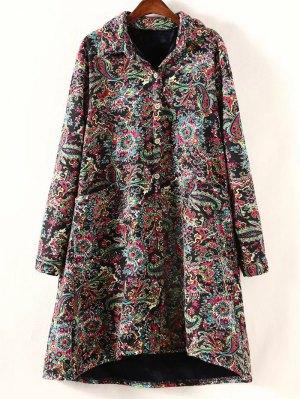 Retro Print Plus Size Fleece Coat - Black